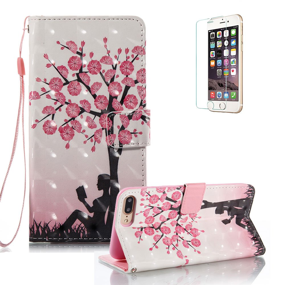 iPhone 7 Plus Case [with Free Screen Protector].Funyye Elegant Premium Folio PU Leather Wallet Magnetic Flip Cover with [Wrist Strap] and [Colorful Printing Painting] Stand Function Book Type Stylish Full Protection Holster Case Cover for iPhone 7 Plus (5.