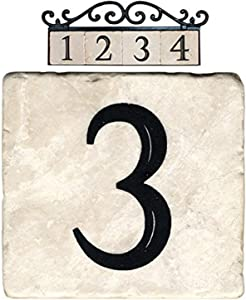 NACH AZ-CLASSIC House Address Number Tiles - #3, Marble/Beige, 4 x 4""