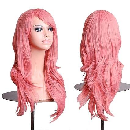 Falamka peluca larga onda para mujeres fiesta pelucas coloridas (rosado)