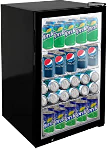 KITMA Beverage Cooler and Refrigerator - 150 Can Mini Bar Fridge with Glass Door for Beer, Soda, Wine - 5 Cu.Ft Drinks Fridge for Office or Bar
