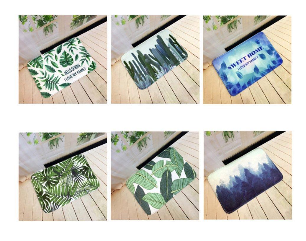 Andensoner C/ómodo Plantas Verdes Que Imprimen la Estera antirresbaladiza de la Estera de la Estera de ba/ño