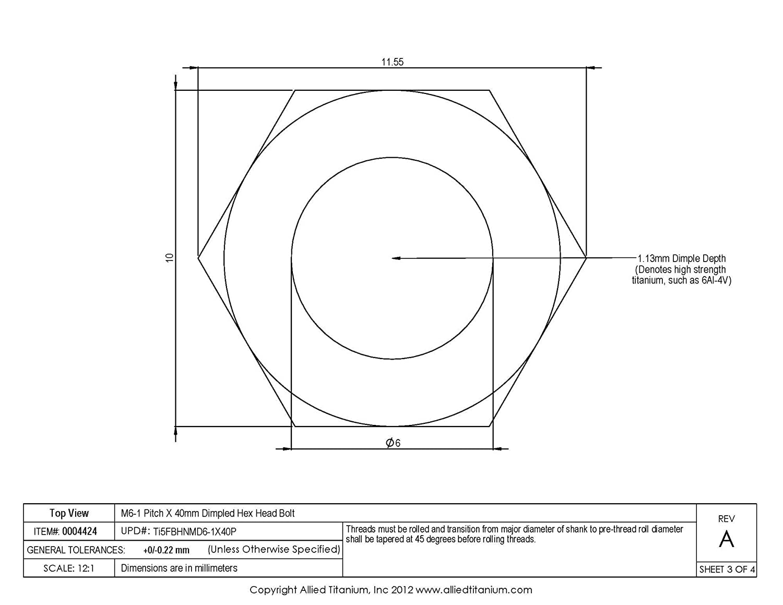 Grade 5 M6-1 Pitch X 40mm Titanium Hex Head Bolt Ti-6Al-4V Inc Pack of 10 Allied Titanium 0004424, 608397001