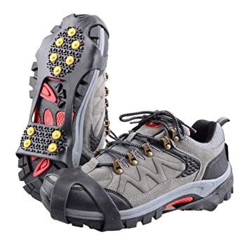 TRIWONDER Ice Grips 10 Dientes Antideslizante Zapato/Bota Ice Traction Slip-on Snow Puntas