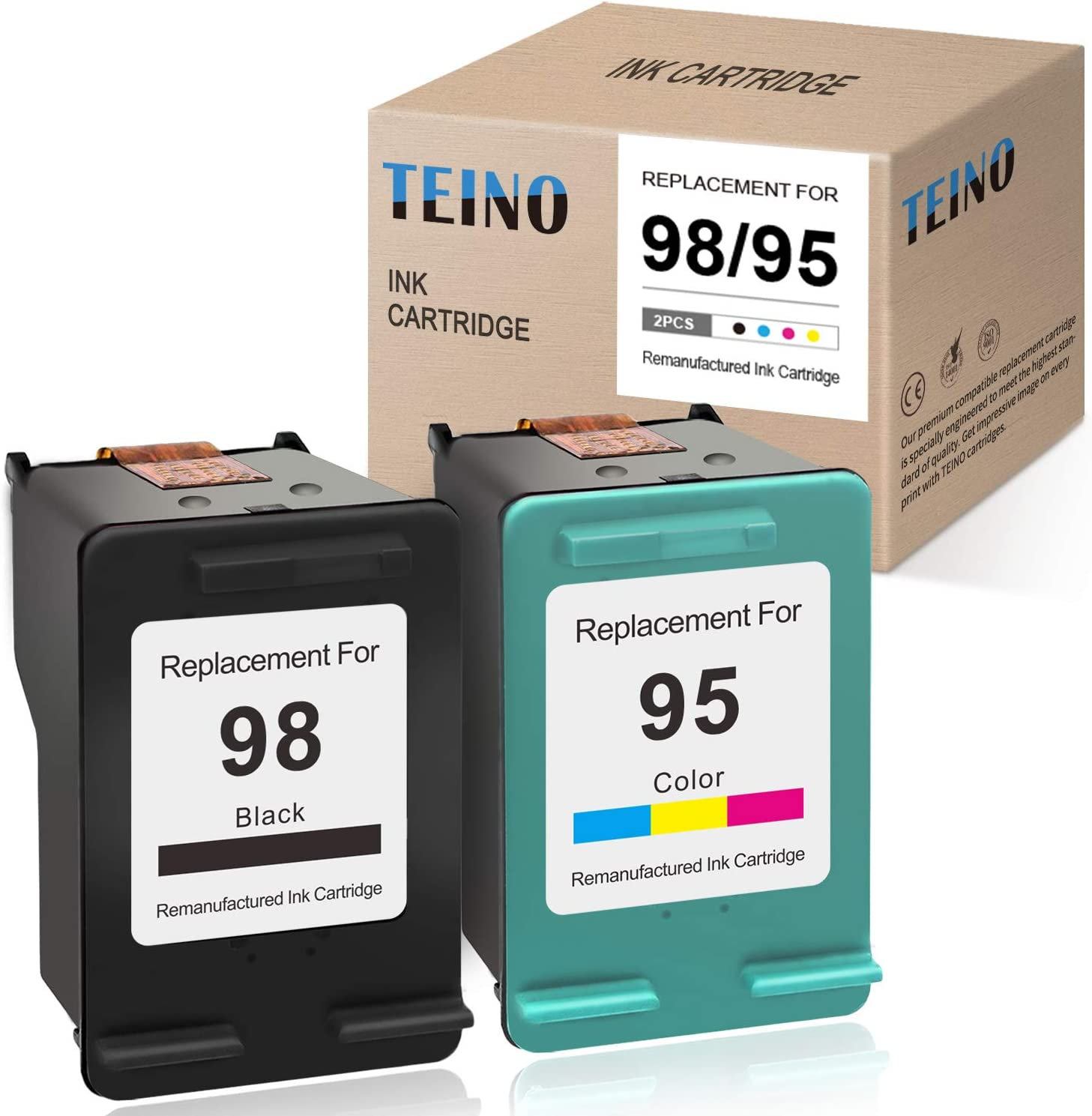 TEINO Remanufactured Ink Cartridge Replacement for HP 98 95 use with HP OfficeJet 100 H470 8030 6310 150 6300 DeskJet 5940 Photosmart 2575 2570 C4100 D5160 D5069 8050 (Black, Tri-Color, 2-Pack)