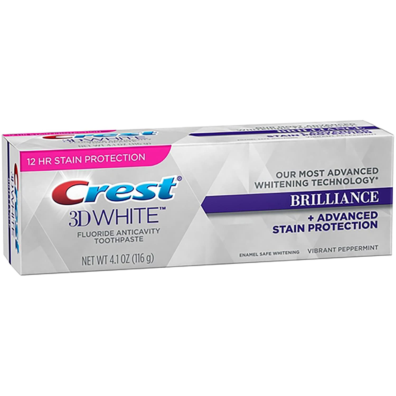Crest 3D White Brilliance + Advanced Stain protection Vibrant Pepermint 4.1oz