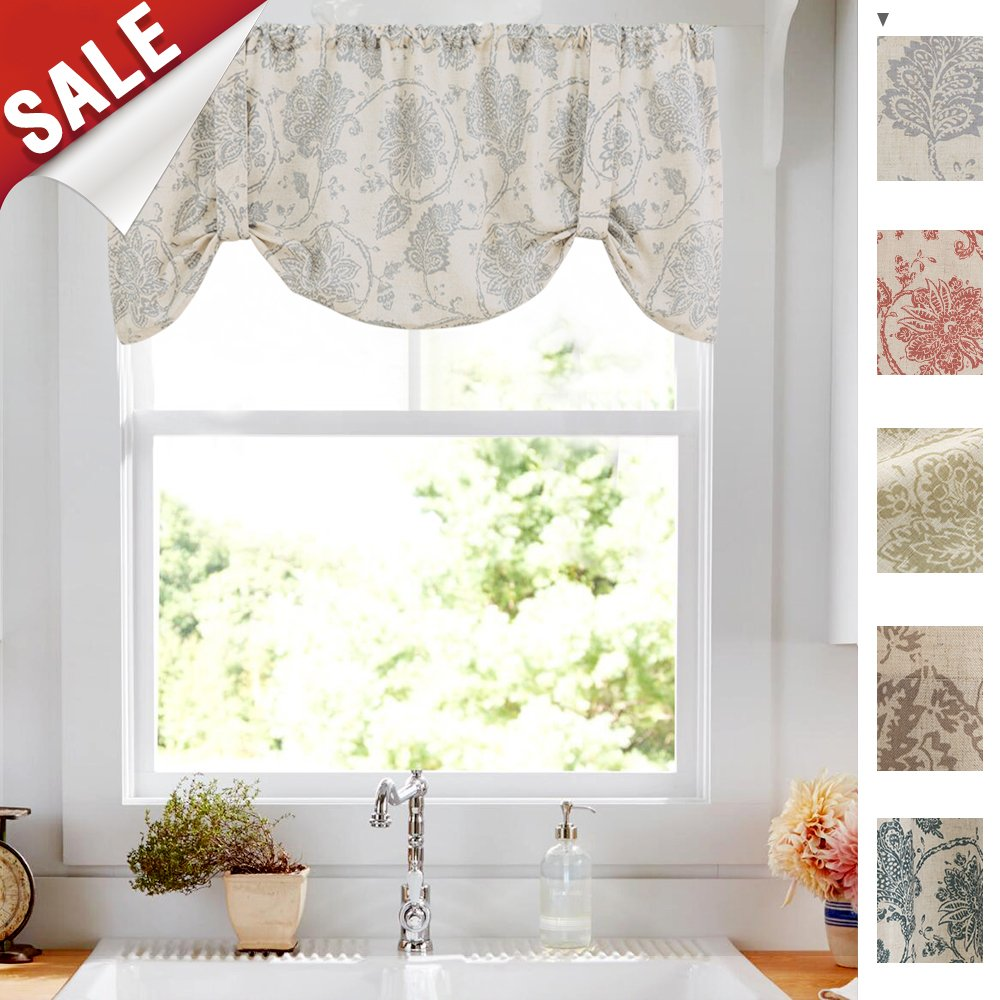 Tie Up Curtains for Windows Linen Textured Adjustable Tie-up Shade for Kitchen Rod Pocket Medallion Design Rustic Jacobean Floral Printed Tie-up Valance (1 Panel,18-Inch Grey)