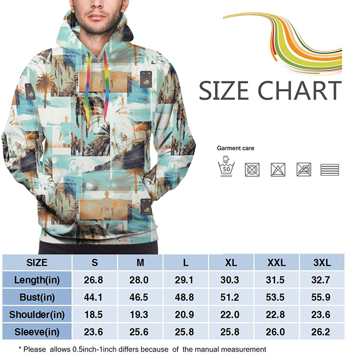 Scenery Mens Hoodie Sweatshirt with Pocket Long Sleeve Pullover Drawstring Classic Casual