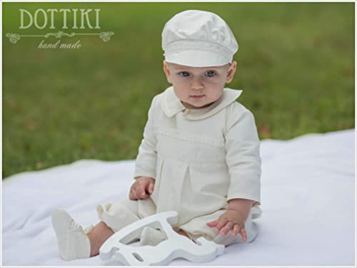 Baby boys ivory satin romoer with cotton lining Hand made to order.