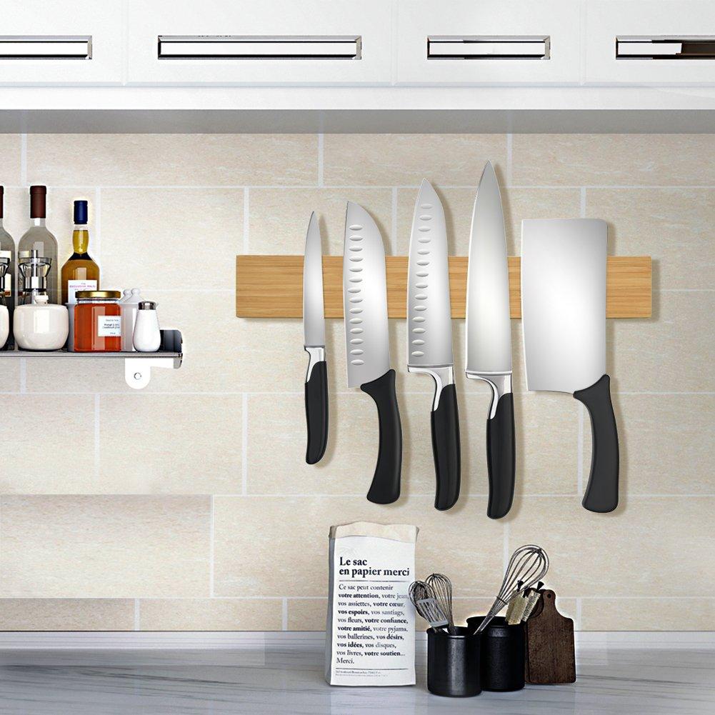 Amazon.com: Tira magnética de bambú para cuchillos con ...