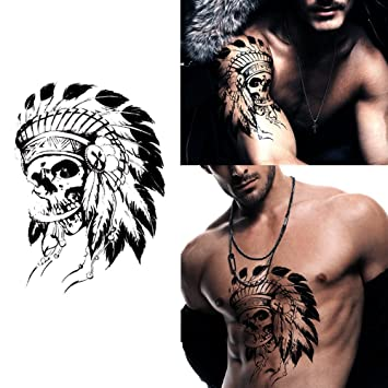 b70ceade0 Amazon.com : Deardeer Temporary Tattoos Sticker for Men Women Couple - Fake  Skull Traditional Design Fashion Body Art Sticker Waterproof (Skull with ...