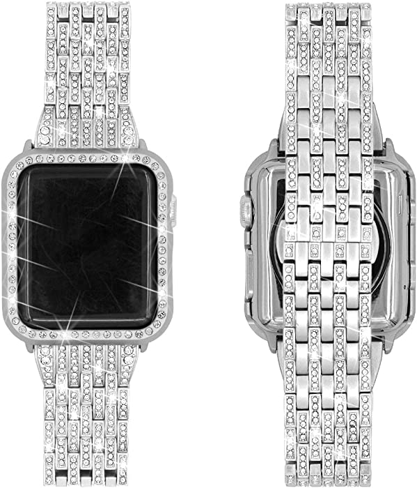 Falandi Replacement for Apple Watch Bands with Rhinestones Face Case, for Women Men, Bling Stainless Steel Replacement Diamond Wristband for iWatch Series 3, 2, 1, Nike+ Sport Edition (Silver, 38mm)