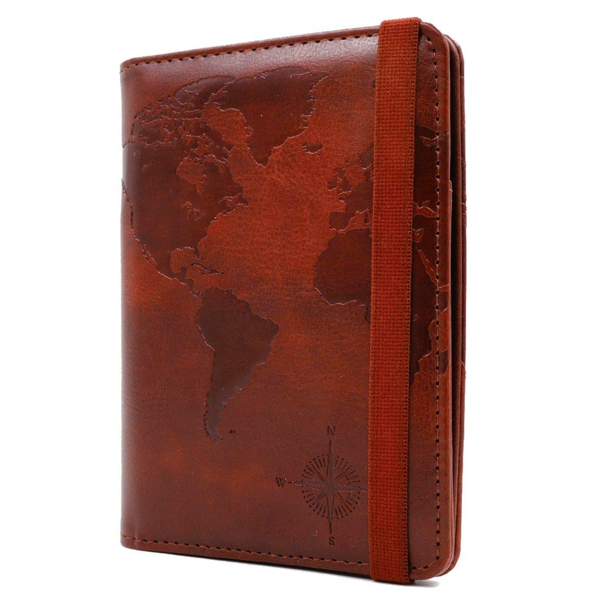 Kandouren RFID Blocking Passport Holder Cover Case,travel luggage passport wallet made with Brown Map Crazy Horse PU Leather for Men & Women by kandouren (Image #4)