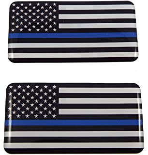 USA Thin blue line police flag domed decal 3D sticker emblem 2.6