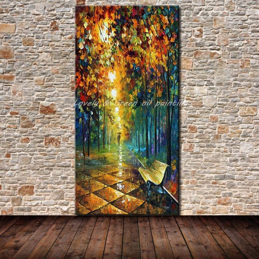 Hand Painted Oil Painting On Canvas, Unframed 3D Vertical Landscape Paintings, Colorful Rainy Night Street,Modern Abstract Large Wall Art Decor For Living Room Bedroom Office Hotel
