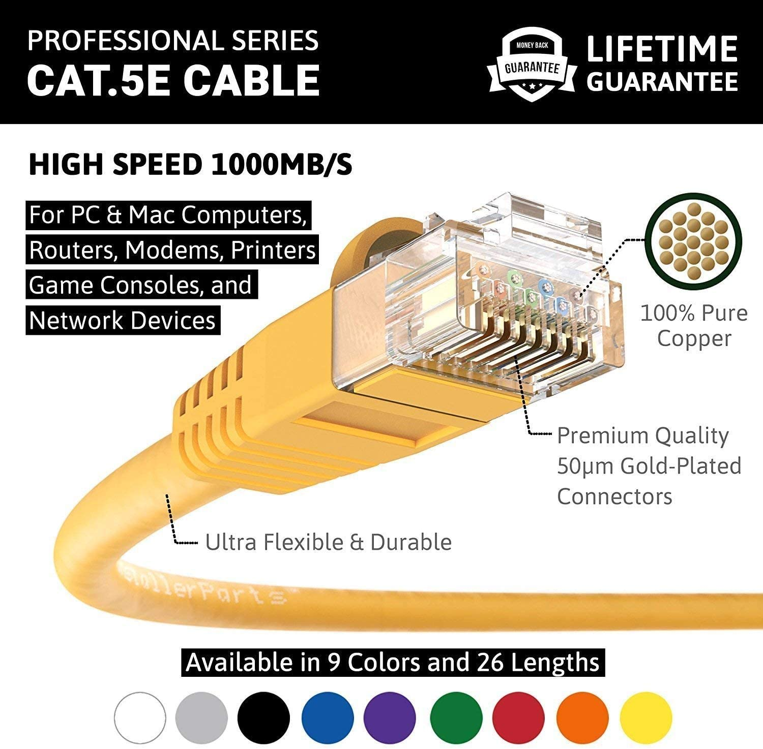 Professional Series InstallerParts Black 5 Pack 350MHZ 1Gigabit//Sec Network//Internet Cable Ethernet Cable CAT5E Cable UTP Booted 75 FT