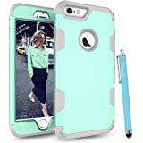 iPhone 6S Case, iPhone 6 Case, Cattech Three Layer Hybrid High Impact Resistant Shockproof Full-Body / Heavy Duty Protective Cover Case for Apple iPhone 6/6S [4.7 inch] + Stylus (Aqua / grey)