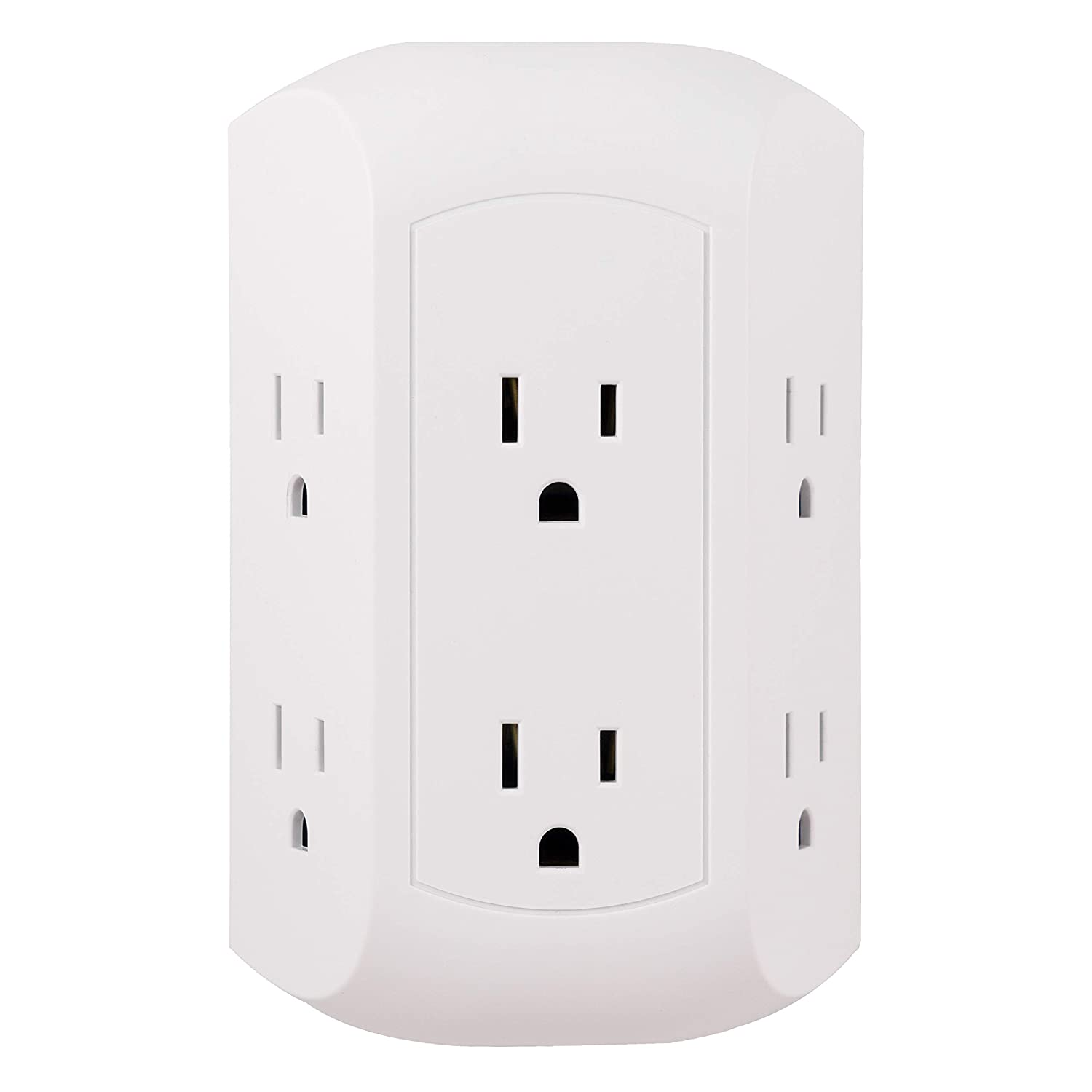 GE Pro 6 Outlet Surge Protector Adapter Spaced Tap, Power Strip, Charging Station, Side Access, White, 43648