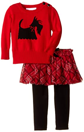 b12616ccd Amazon.com: Bonnie Baby Baby-Girls Infant Scottie Dog Intarsia Sweater  Legging and Skirt Set, Red, 3-6M: Clothing