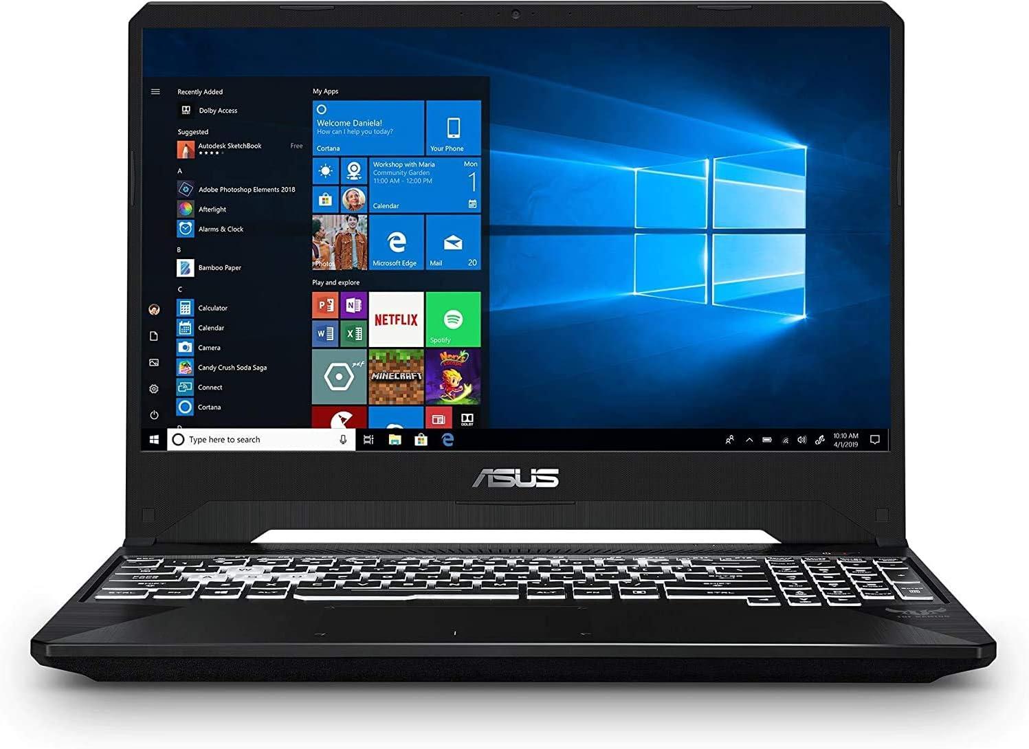 """ASUS TUF 15.6"""" Full HD Display Gaming Laptop, AMD Quad-Core Ryzen 5 3550H, 8GB DDR4, 256GB PCIe SSD, 4GB GTX 1650, RGB Backlit Keyboard, Webcam, Windows 10, TWE 64GB Flash Drive"""