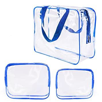 3Pcs Crystal Clear Plastic Cosmetic Bags Travel PVC Vinyl Toiletry Bag Set c34c1864adece