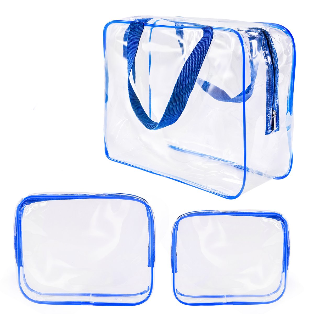 3Pcs Crystal Clear Plastic Cosmetic Bags Travel PVC Vinyl Toiletry Bag Set, Zipper Large Transparent Waterproof Make-Up Case Diaper Pouch for Baby Women Men, Beach Swim Pool Packing Organizer Bag Blue