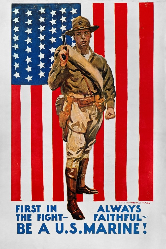 World War I US Marines NFirst In The Fight American World War I Marine Corps Recruiting Poster C1918 By James Montgomery Flagg Poster Print by (18 x 24)
