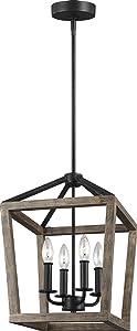 "Feiss F3190/4WOW/AF Gannet Wood Lantern Pendant Lighting, Brown, 4-Light (12""W x 17""H) 240watts"