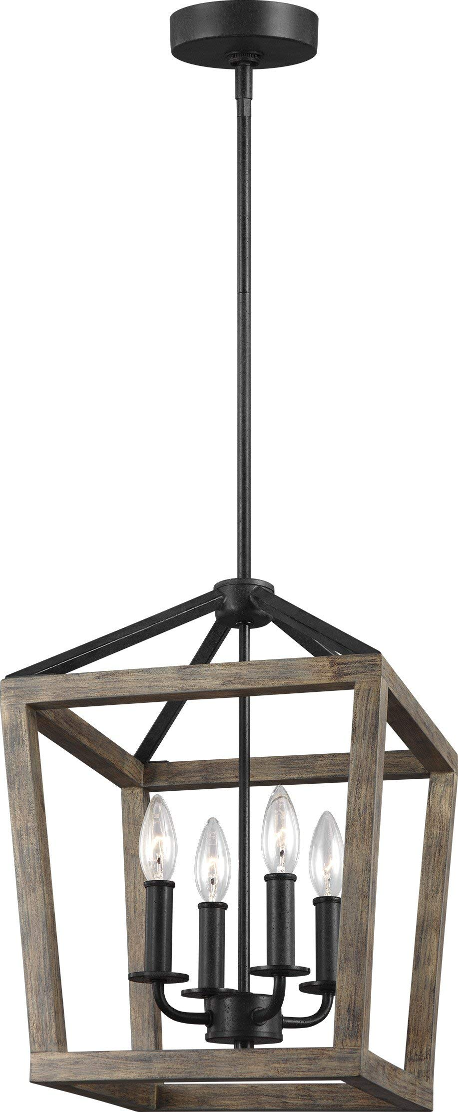 Feiss F3190/4WOW/AF Gannet Wood Lantern Pendant Lighting, Brown, 4-Light (12''W x 17''H) 240watts