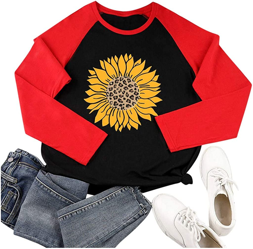 F/_topbu Sweatshirts for Women O-Neck Long Sleeve T-Shirt Patchwork Sunflower Printed Tops Casual Loose Pullover Blouse