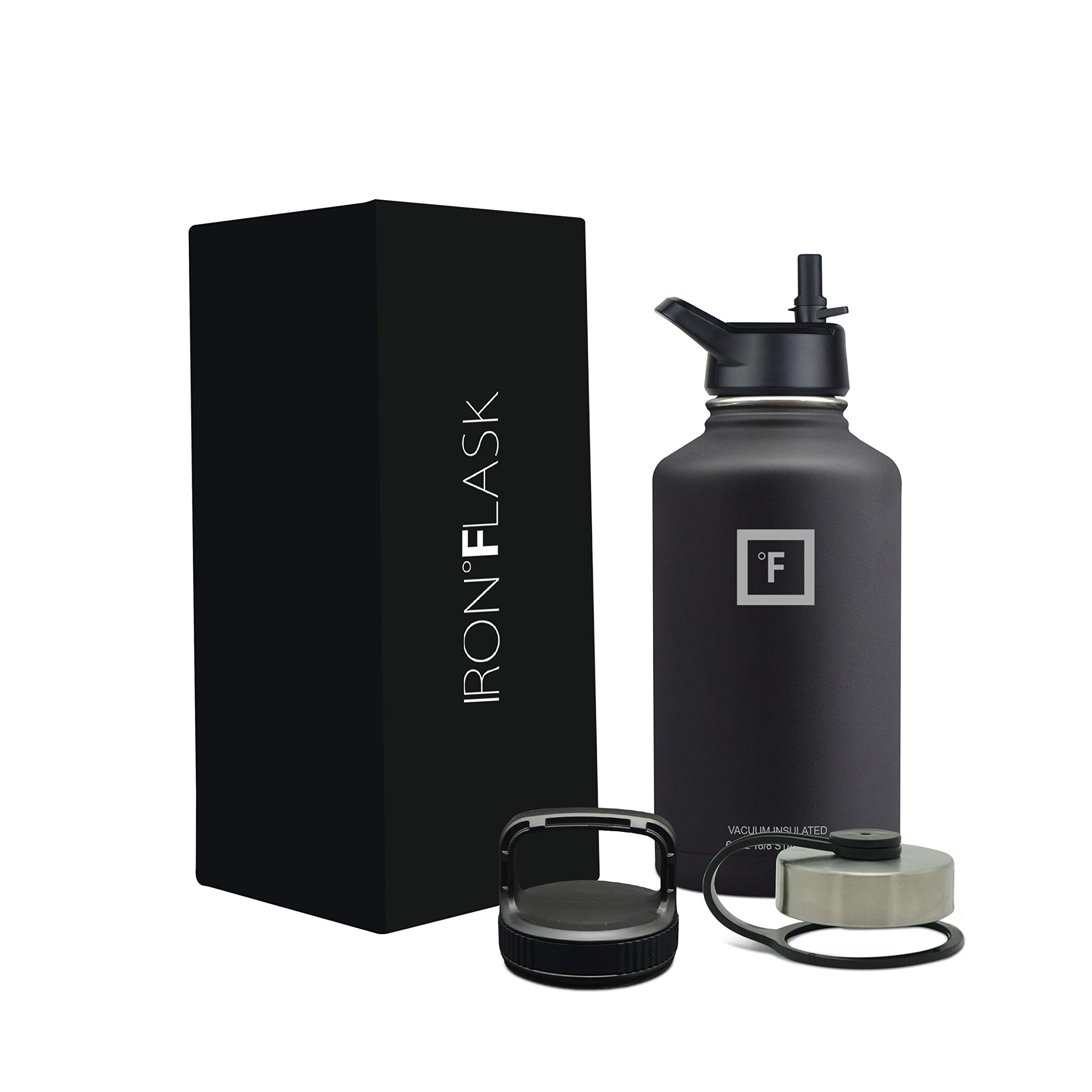 Iron Flask Sports Water Bottle - 64 Oz, 3 Lids, Vacuum Insulated Stainless Steel, Hot & Cold, Wide Mouth, Double Walled, Hydro Metal Canteen, Mid Black by Iron Flask