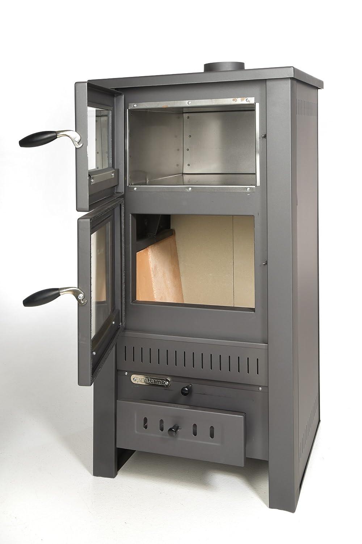 Estufa para madera Acerto Santo con horno, para exterior, 12 kW, cristal de visión, para madera y carbón, horno para terraza de acero de alta calidad, ...