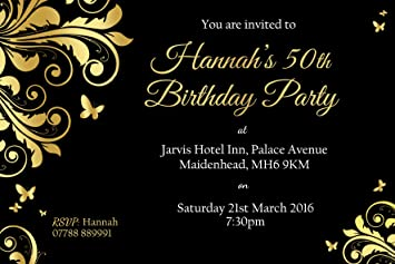 50th Personalised Birthday Party Invites Envelopes Gold Leaf