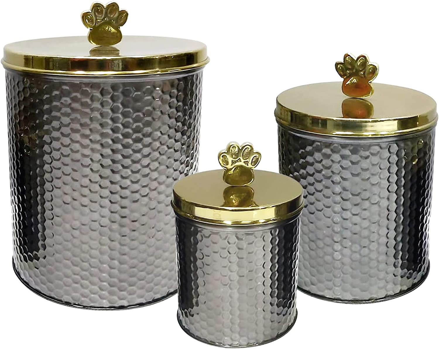 nu steel metal black nickel Embossed 3 Pc set Jumbo Pet Canister with Golden Paw Handle, Dog Food Treat Storage Container Jar with golden Lid, Tight Fitting Lids for Dog Biscuit Cookies