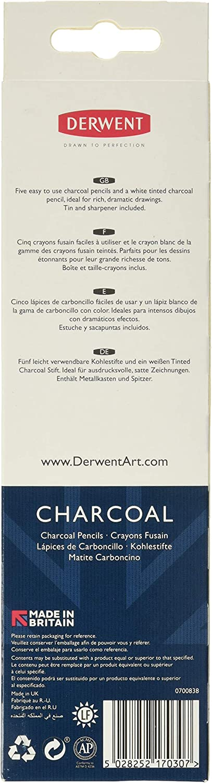 Metal Tin 6 Count 0700838 Derwent Charcoal Pencils