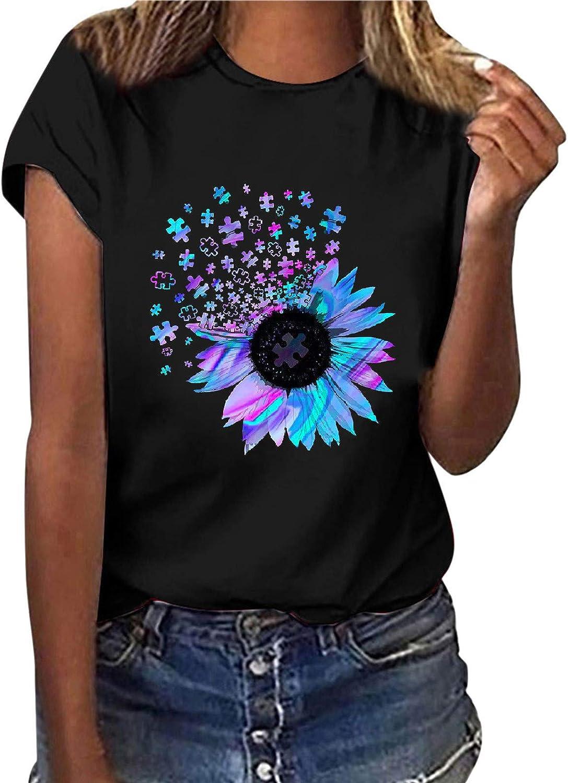 Camiseta para Mujer Estampado Creativo de Rompecabezas de Girasol Blusa Suelta con Cuello Redondo Informal, Tops, Manga Corta Ropa de Mujer en Tallas Grandes Tops Adecuado para el Uso Diario (S-3XL)