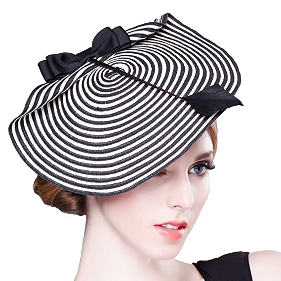 3e3aacd2b0285 Image Unavailable. Image not available for. Colour  Women s Pillbox Fashion  Bowknot Feather Stripe Fascinator Hat Headwear with Comb for Cocktail Party  ...