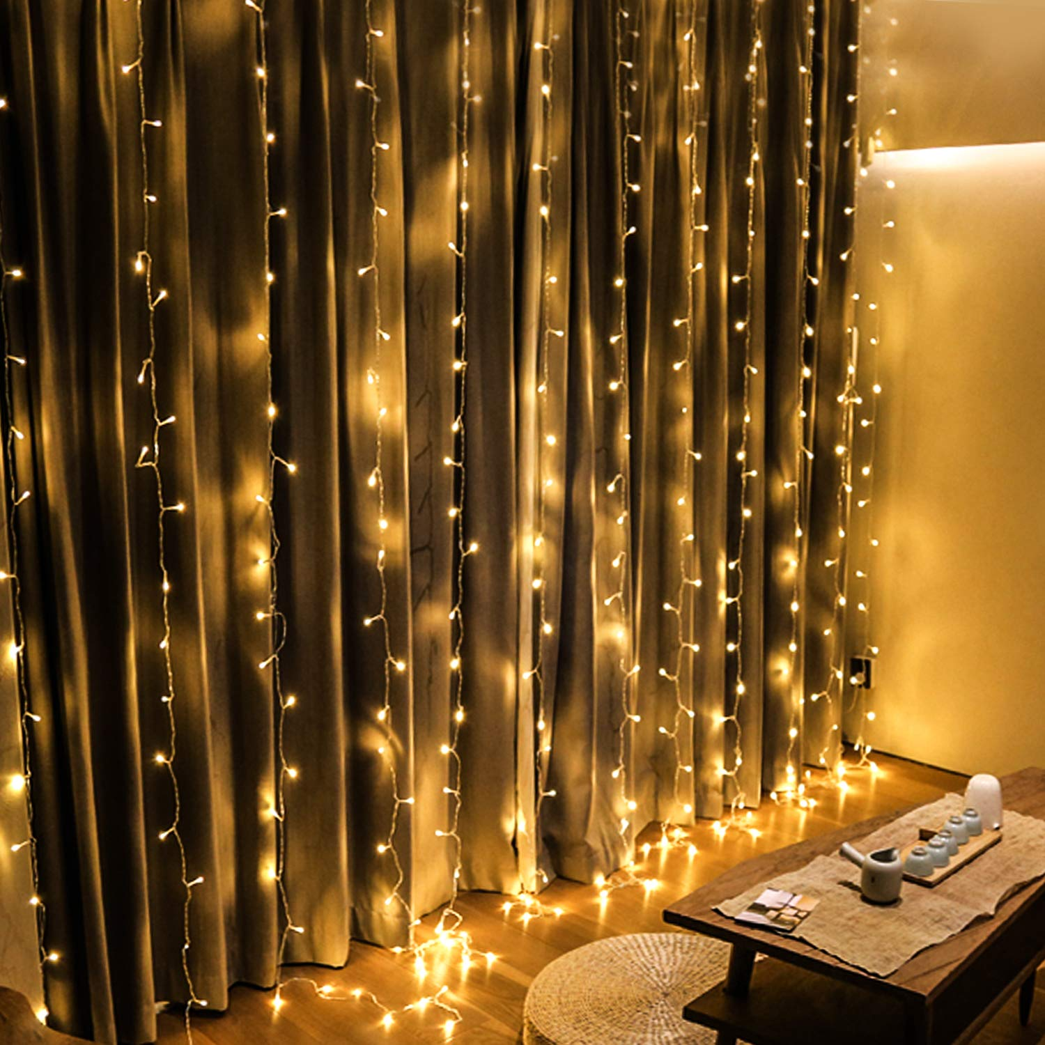 OMGAI Window Curtain Icicle String Lights of 300LED for Christmas Xmas  Wedding Party Home Decoration Fairy Lights Wedding Party Home Garden
