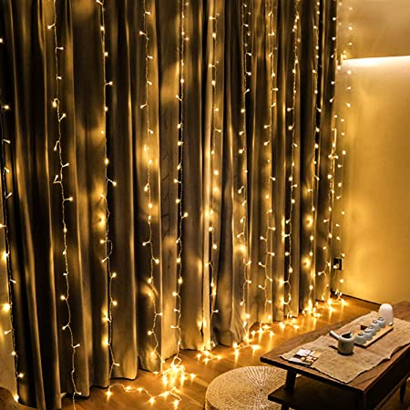 Omgai Window Curtain Icicle String Lights Of 300led For Christmas