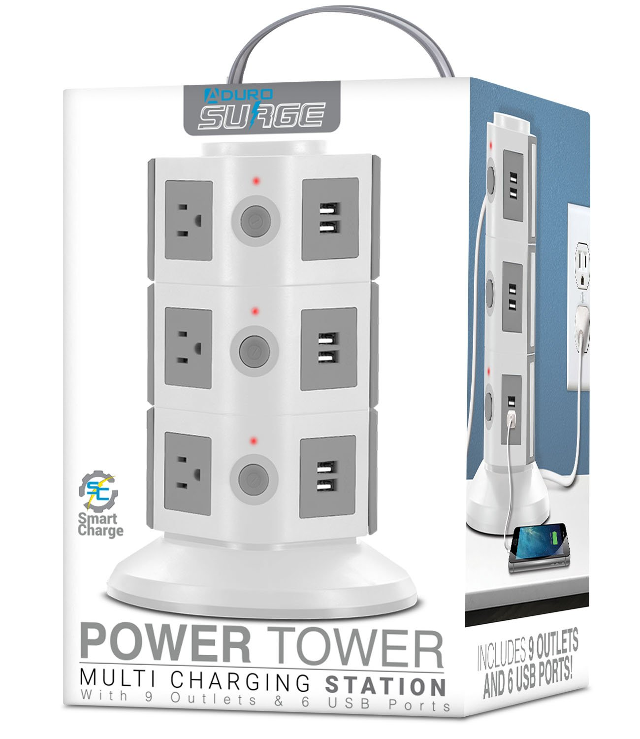 Aduro Surge Protector Power Tower Family Multi Charging Station - 9 Outlets and 6 USB Ports, Smart Charge Technology for iPhone, iPad, Galaxy Nexus (Black)