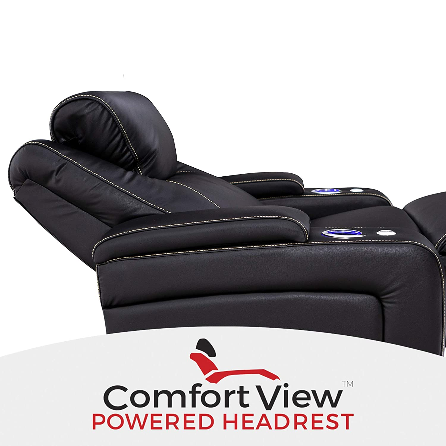 Seatcraft Pantheon Big /& Tall 400 lbs Capacity-Home Theater Seating Leather Recliner Powered Headrest-Adjustable Lumbar Support-SoundShaker-Lighted Cup Holders-Black