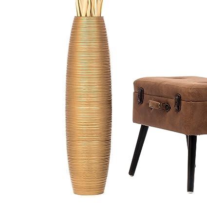 Amazon Leewadee Tall Big Floor Standing Vase For Home Decor 8x30 Inches Wood Golden Musical Instruments