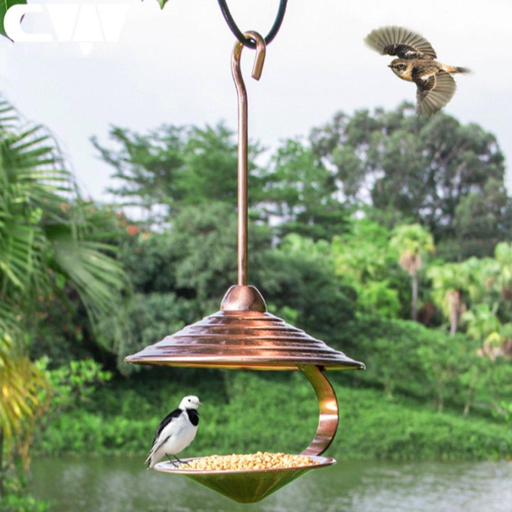 Runhigh Decorative Garden Bird House Metal Bird Feeder For Outside