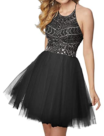 Cdress Short Homecoming Dresses Tulle Beading Cocktail Gowns Halter Prom Party Dress Black US 2