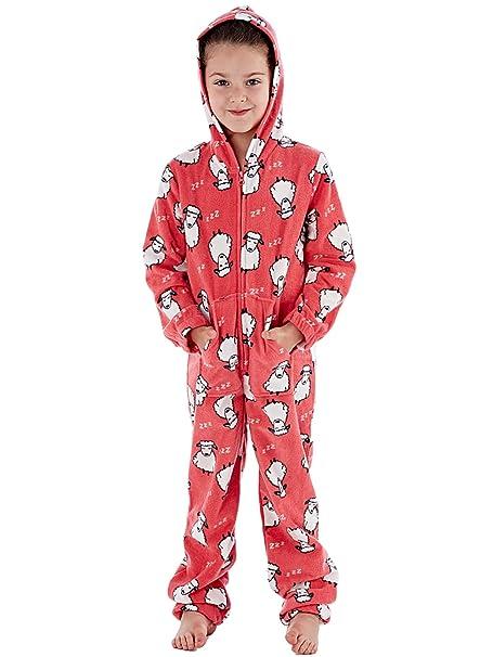 Selena Girl - Pijama de una pieza - Manga Larga - para niña Rojo Coral Sheep