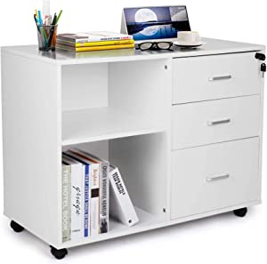 TUSY 3-Drawer File Cabinet with Lock, Mobile Lateral Filing Cabinets with Wheels, Printer Stand with Open Storage Shelves for Home Office, White