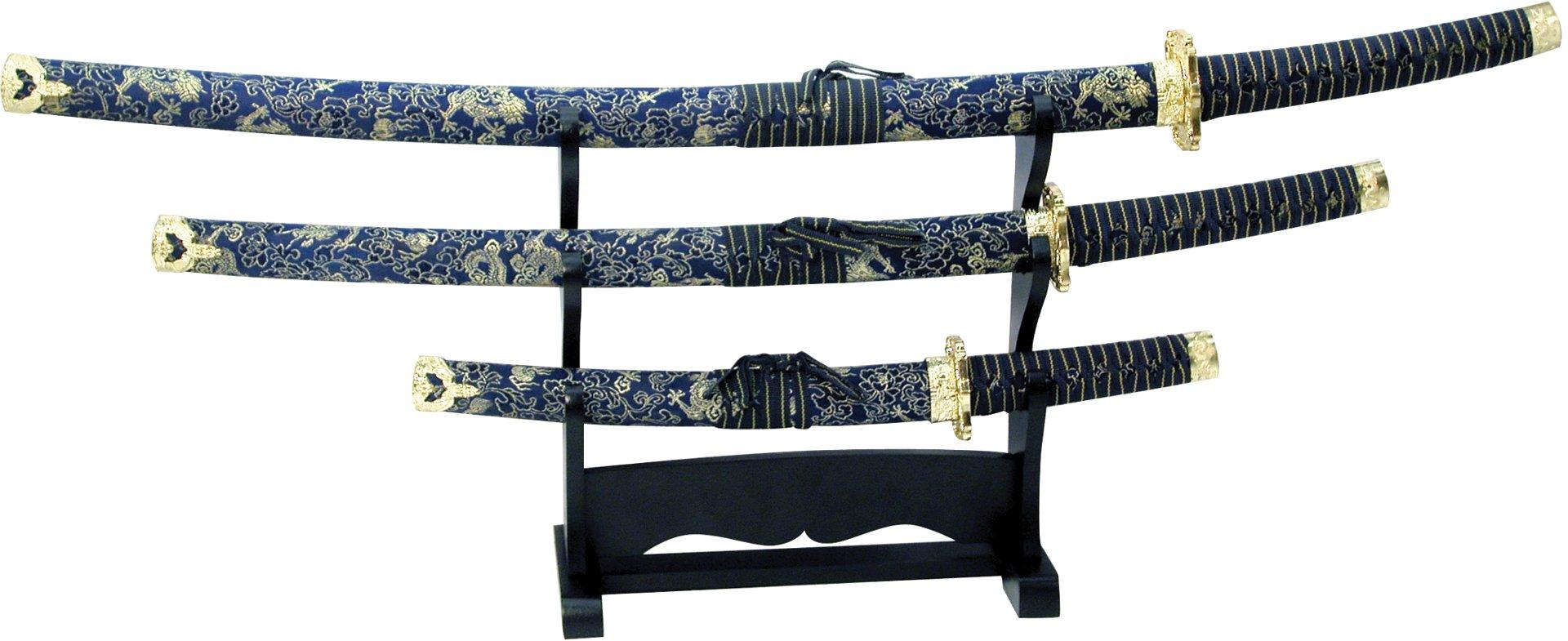 BladesUSA Jl-021Bl4 Katana Samurai Sword Set, 3-Piece with Scabbard and Display Stand, 40-Inch Overall Katana by BladesUSA