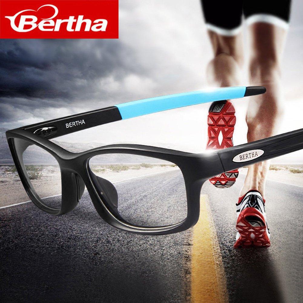 Bertha Sports Glasses Optical Protection Basketball Eyeglasses Frame Business Presription Eyewear 004 (Black&Red) by Bertha (Image #2)