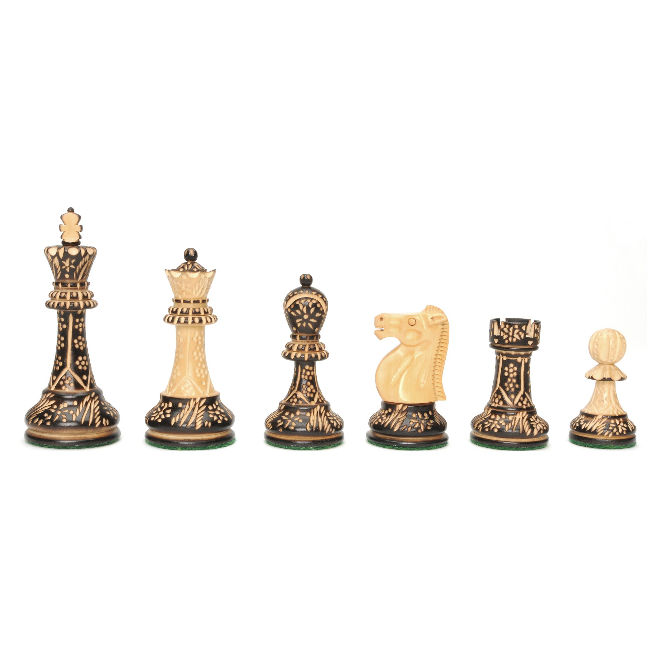 WE Games Staunton Chessmen with Floral Pyrography Design - Weighted with 3.75 Inch King by Wood Expressions