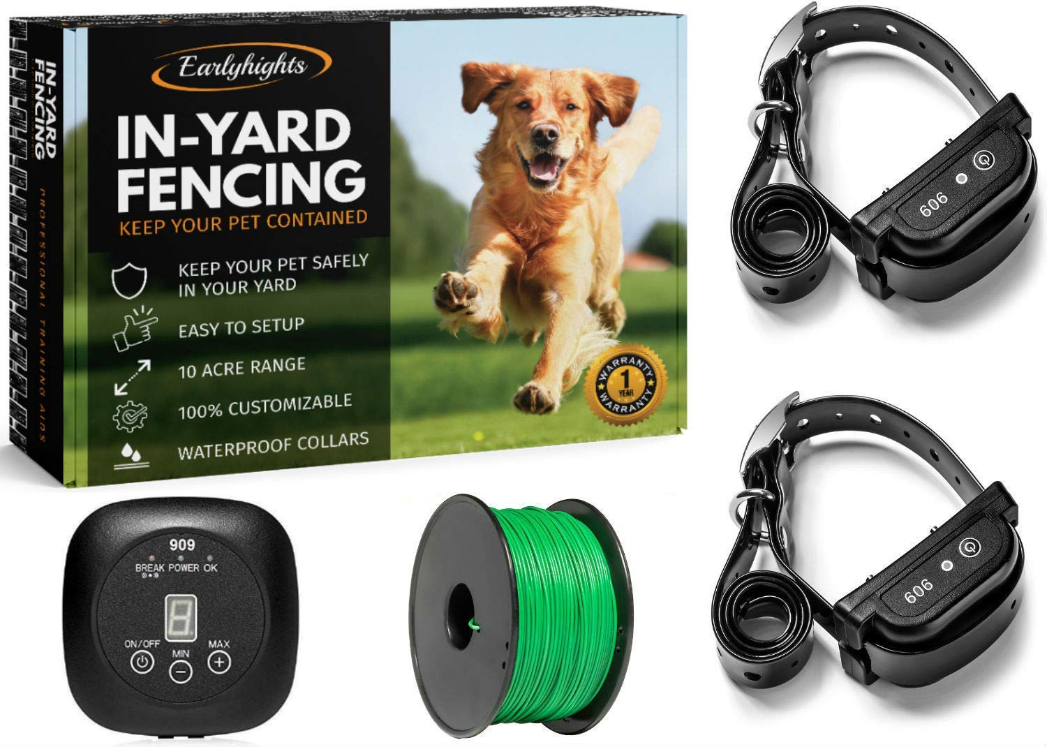 Earlyhights Electric Underground Outdoor Dog Containment Fence System,5 Acre Range 500 Feet In Ground Wire, Small, Medium, Or Large Dogs Over 5 lbs by Earlyhights