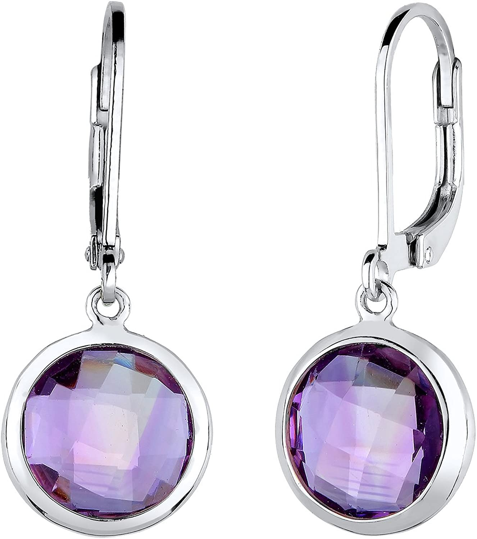Elli Damen-Pendientes 925 de plata Amatista corte brillante lila - 0302431715